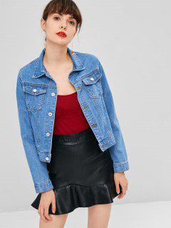 Button Up Pockets Denim Jacket - Denim Dark Blue L