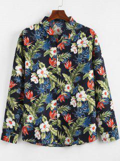 Tropical Plants Printed Casual Shirt - Navy Blue Xl