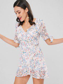 Vestido Floral Con Cuello En V - Multicolor M