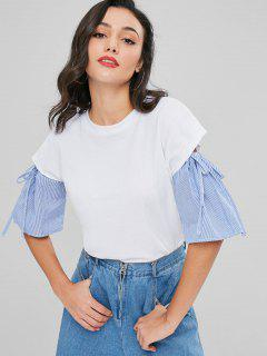 Striped Sleeve Cutout T-shirt - White M