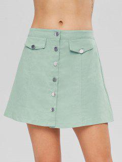 Button Up A Line Skirt - Cyan Opaque L