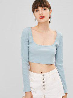 Scoop Ribbed Cropped Top - Baby Blue S