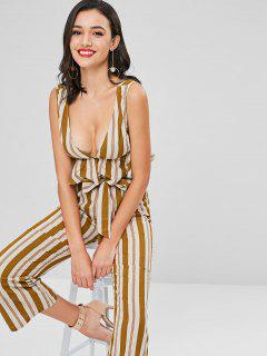 Low Cut Striped Belted Pants Set - Caramel S