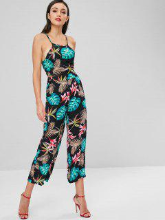 Tropical Crop Top And Pants Set - Multi S