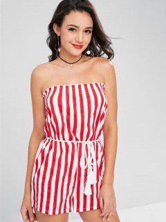 Striped Tassels Belted Romper - Red L