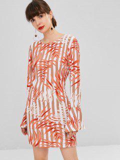 Leaves Print Shift Bell Sleeve Dress - Multi S