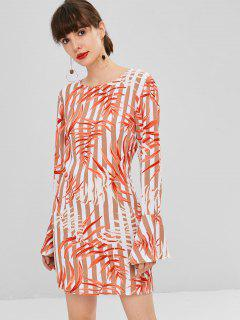 Leaves Print Shift Bell Sleeve Dress - Multi M