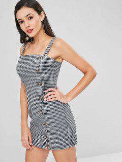 Button Up Gingham Short Dress - Black L