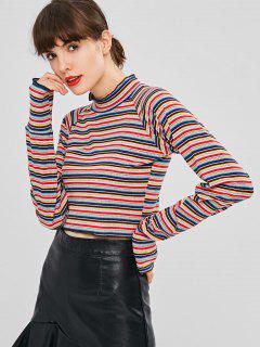 Camiseta De Manga Larga Con Cuello De Pico A Rayas - Multicolor M