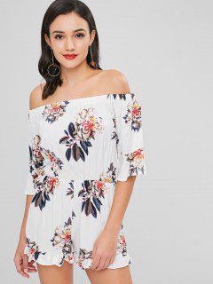 Combi-Short à Épaules Dénudées Motif Floral  - Blanc M
