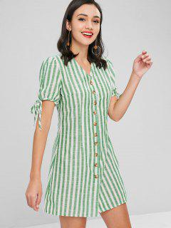 Button Down Striped Dress - Yellow Green Xl