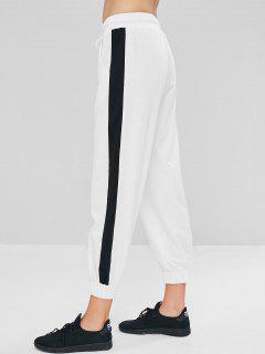Niedrige Taille Kontrast Jogginghose - Weiß L