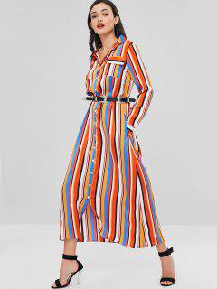 Stripes Straight Shirt Dress - Multi L