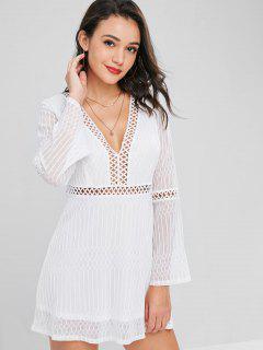 Mini Vestido De Encaje Con Cordones - Blanco M