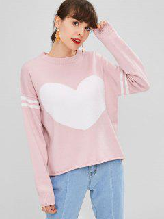 Contrasting Heart Sweater - Light Pink