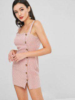 Button Up Gingham Short Dress - Pink Bow M
