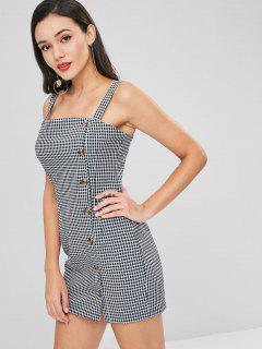 Button Up Gingham Short Dress - Black M
