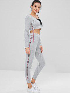 Crop Sweatshirt And Joggers Pants Sweat Suit - Gray M