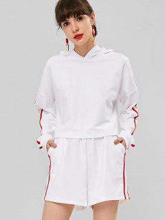 Cropped Hoodie And Shorts Two Piece Set - White S