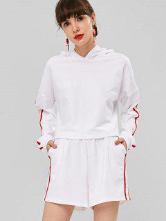 Recortada Con Capucha Y Pantalones Cortos Conjunto De Dos Piezas - Blanco L