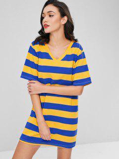 Contrast Striped Shift Dress - Bright Yellow M
