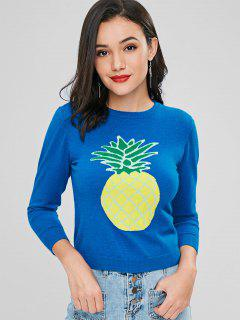 Pull à Col Rond Motif Ananas  - Bleu Cristal S