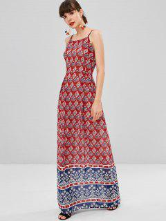 Printed Bohemian Cami Dress - Red L