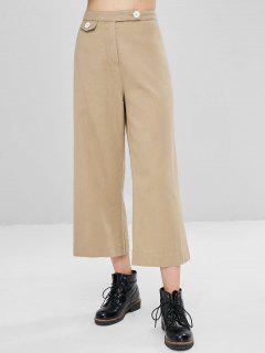 Abotonado Pantalones De Pierna Ancha Noveno - Tan S