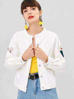 Button Up Embroidered Patched Denim Jacket - White S