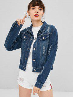 Faux Pockets Ripped Denim Jacket - Denim Dark Blue L