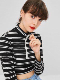 Striped Long Sleeve O Ring Zip Crop Tee - Multi S
