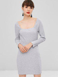 Square Neck Ribbed Dress - Blue Gray L
