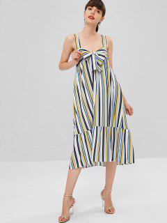 Wide Strap Striped Midi Dress - Multi M