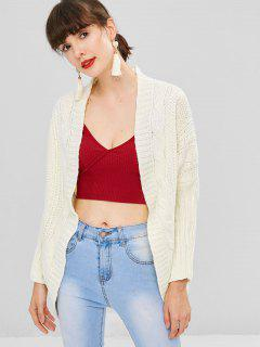 Dolman Sleeve Cable Knit Cardigan - Warm White