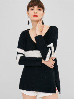 Side Slit Contrast Sweater - Black