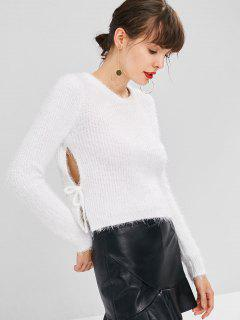 Pull Uni Avec Attaches  - Blanc