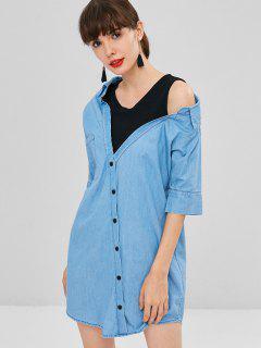 Fake Two Piece Chambray Shirt Dress - Denim Blue M