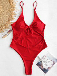 Plus Size Cut Out Knotted Swimsuit - Love Red 2x