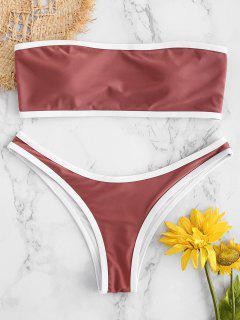 Kontrast Trim Bandeau Bikini-Set - Rosiger Fink S