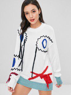 Jacquard Long Quasten Langer Pullover - Weiß