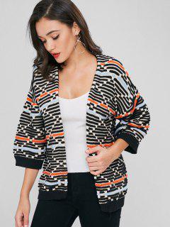 Cárdigan Kimono Con Rayas Texturizadas Y Frente Abierto - Multicolor
