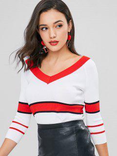 V-Ausschnitt Gestreifter Gerippter Pullover - Weiß