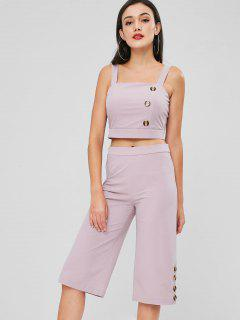 Buttons Crop Top Pants Set - Thistle S