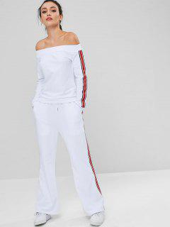 Off Shoulder Side Stripes Pants Set - White S