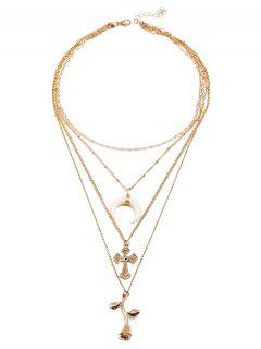 Rose Flower Cross Crescent Moon Design Pendant Necklace - Gold