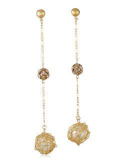 Long Rhinestone Artificial Pearl Hanging Earrings - Gold