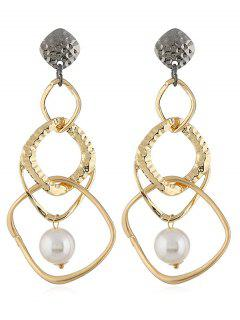 Artificial Pearl Geometric Shape Drop Earrings - Gold