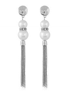 Long Chain Tassel Artificial Pearls Hanging Earrings - Silver