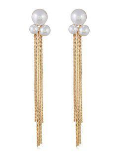 Fake Pearl Chain Tassel Long Earrings - Gold