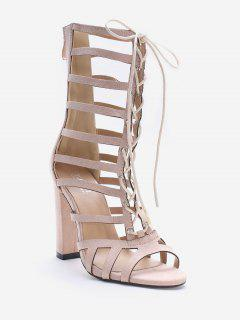 Lace Up Hollow Out Chic Sandals - Sakura Pink 37